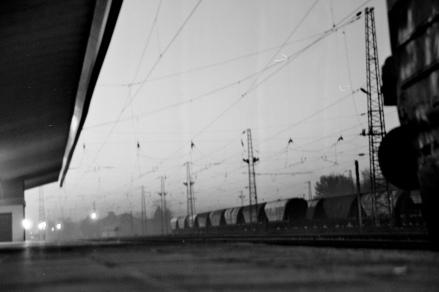 A hazy sunset whilst changing trains near Veliko Târnovo